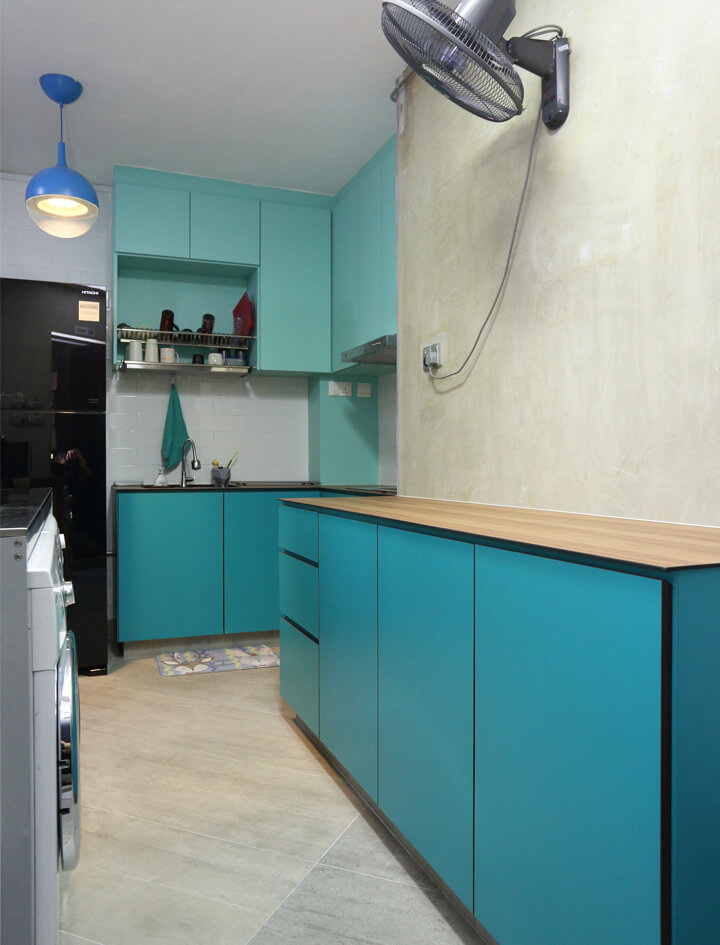 Colourful Space Interior Design Teal Kitchen Corridor View