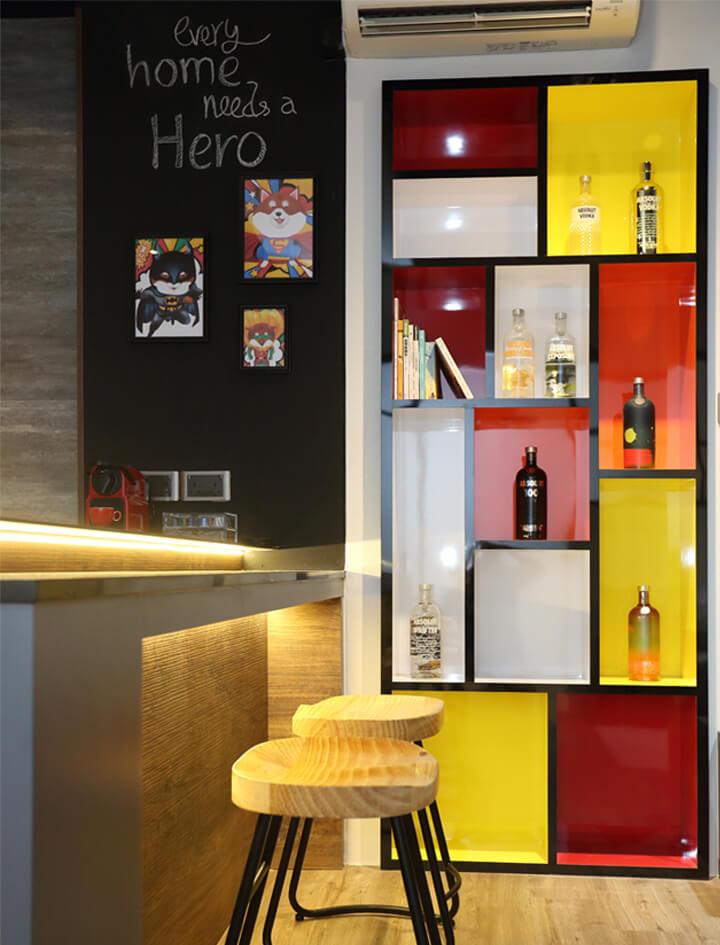 Monoloft's Design Studio Renovation Bar Top Red and Yellow