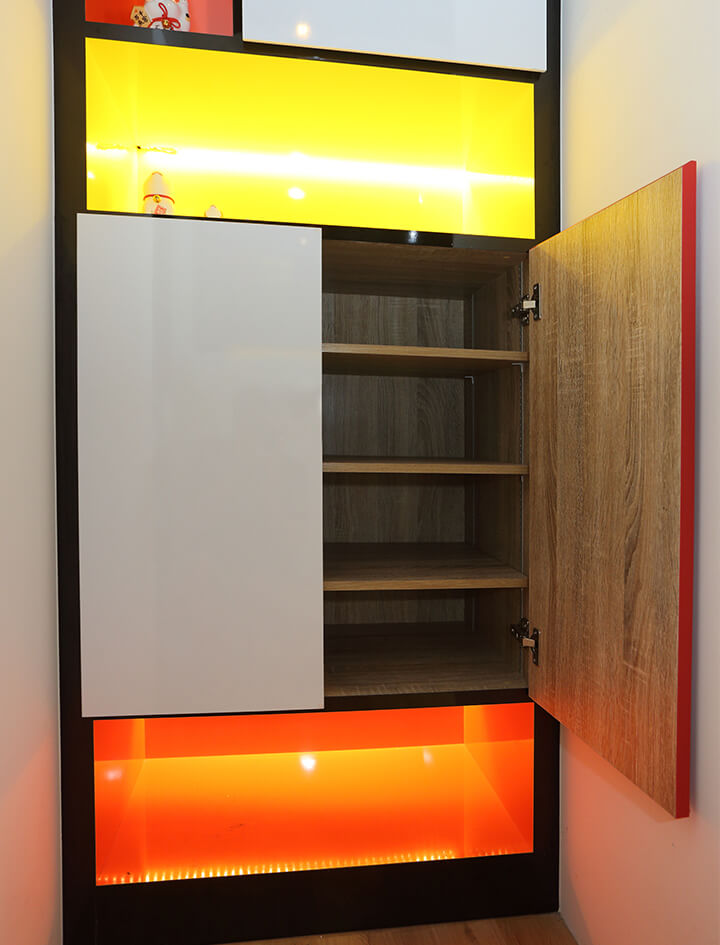 Monoloft's Design Studio Renovation Shoe Cabinet with Lighting Panels