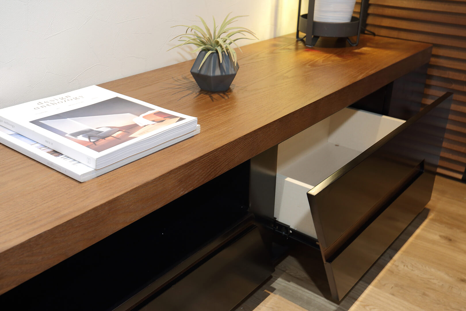 Monoloft's Design Studio Renovation Study Table and Open Drawer