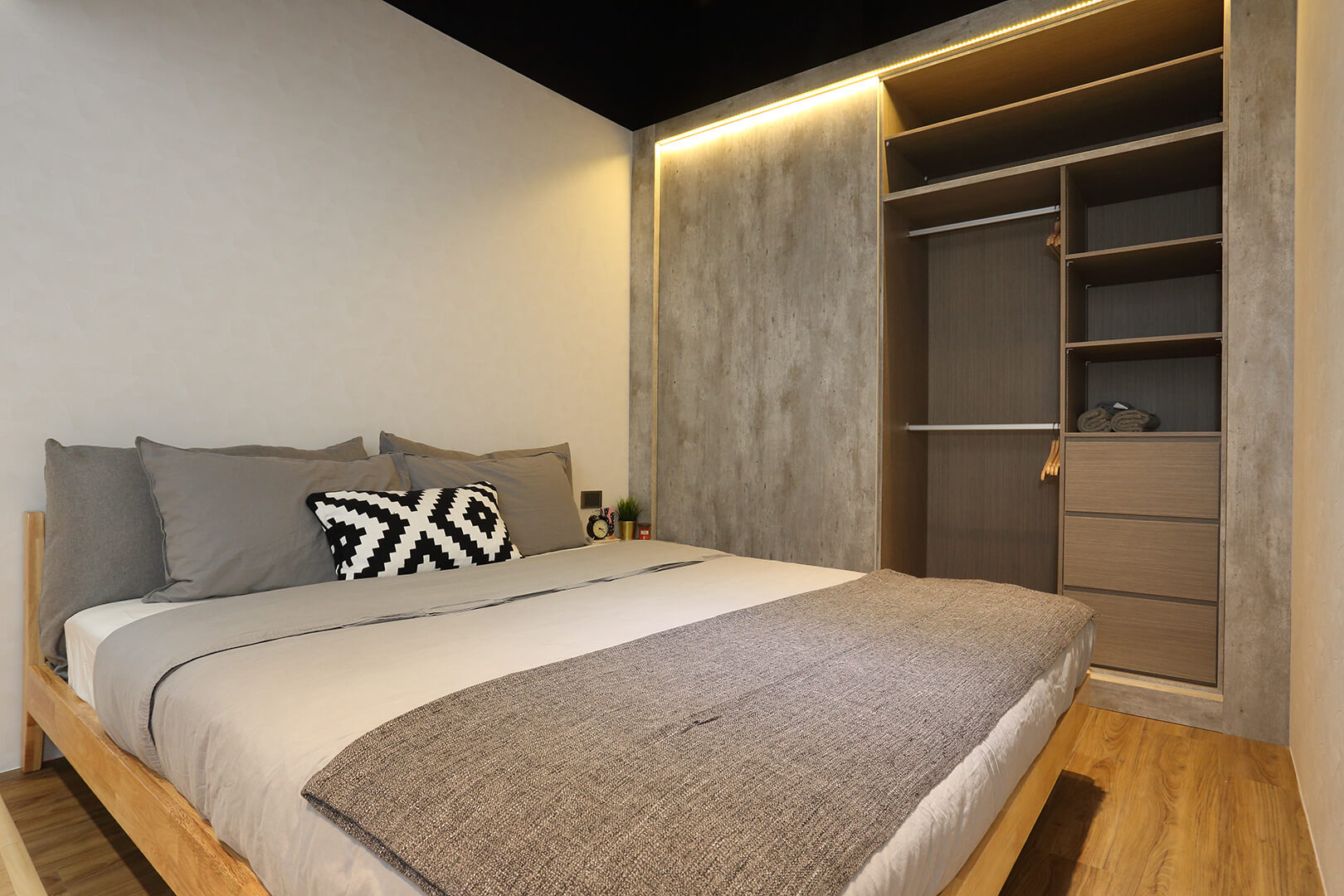 Monoloft's Design Studio Renovation Master Bedroom with Wardrobe on Side