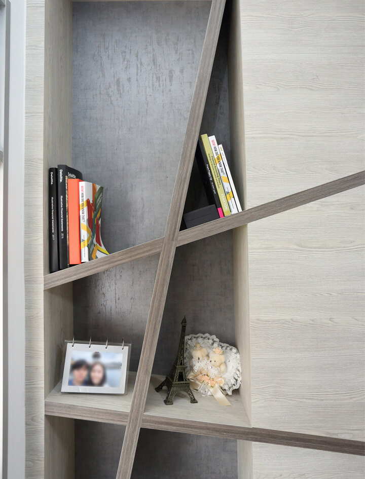 Minimalist Home Interior Design Singapore Bookshelve with Books