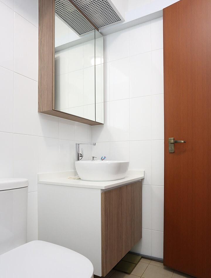 Minimalist Home Interior Design Singapore Washroom with Modern Wood Texture