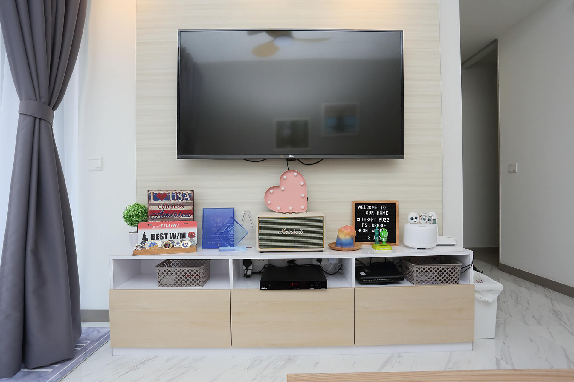 Contemporarily Minimalist Space Interior Design TV Console Front View