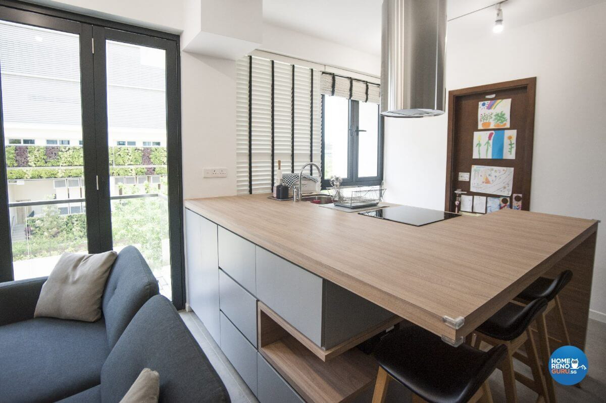 Pine And Grey Interior Design Bar Table Side View