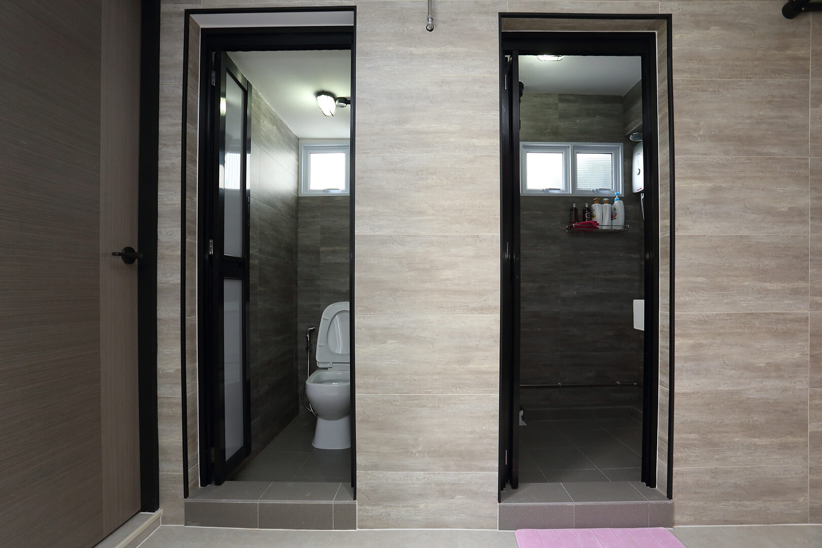 Classic Monotone Interior Design Washroom Double Entrance View