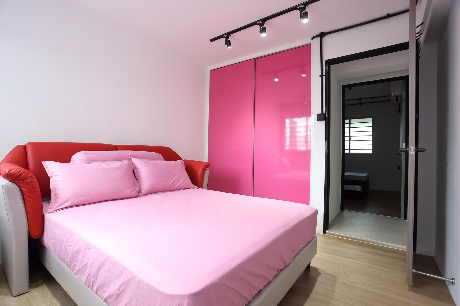Classic Monotone Interior Design Pink Bedroom with Spot Lights