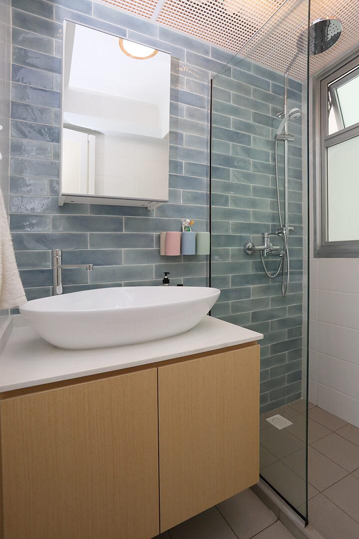 Scandinavian Interior Design Singapore Washroom Basin Top and Mirror