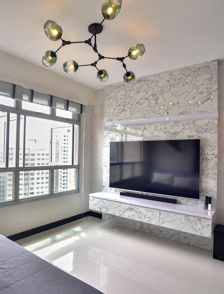 White Monochrome Interior Design living Room