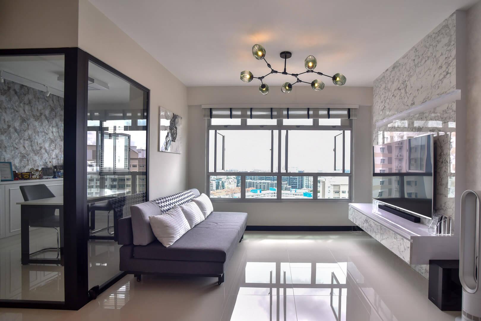 White Monochrome Interior Design Living Room Side View
