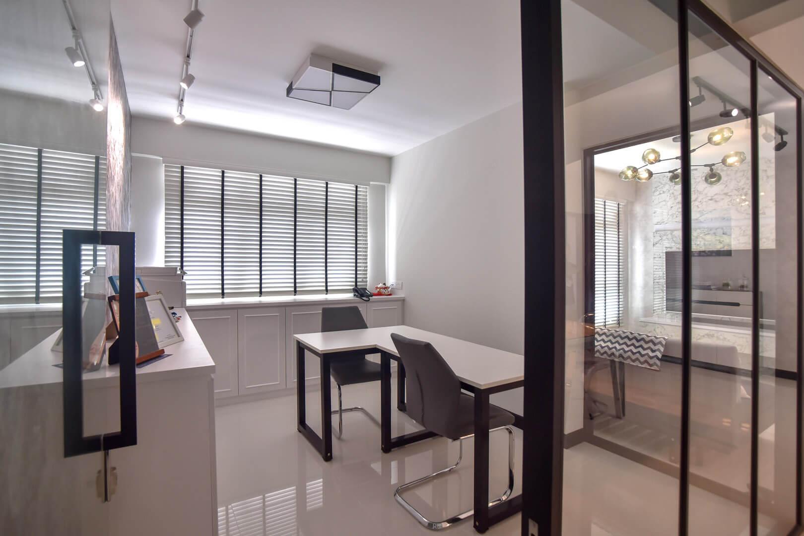 White Monochrome Interior Design Living Room Side Angle
