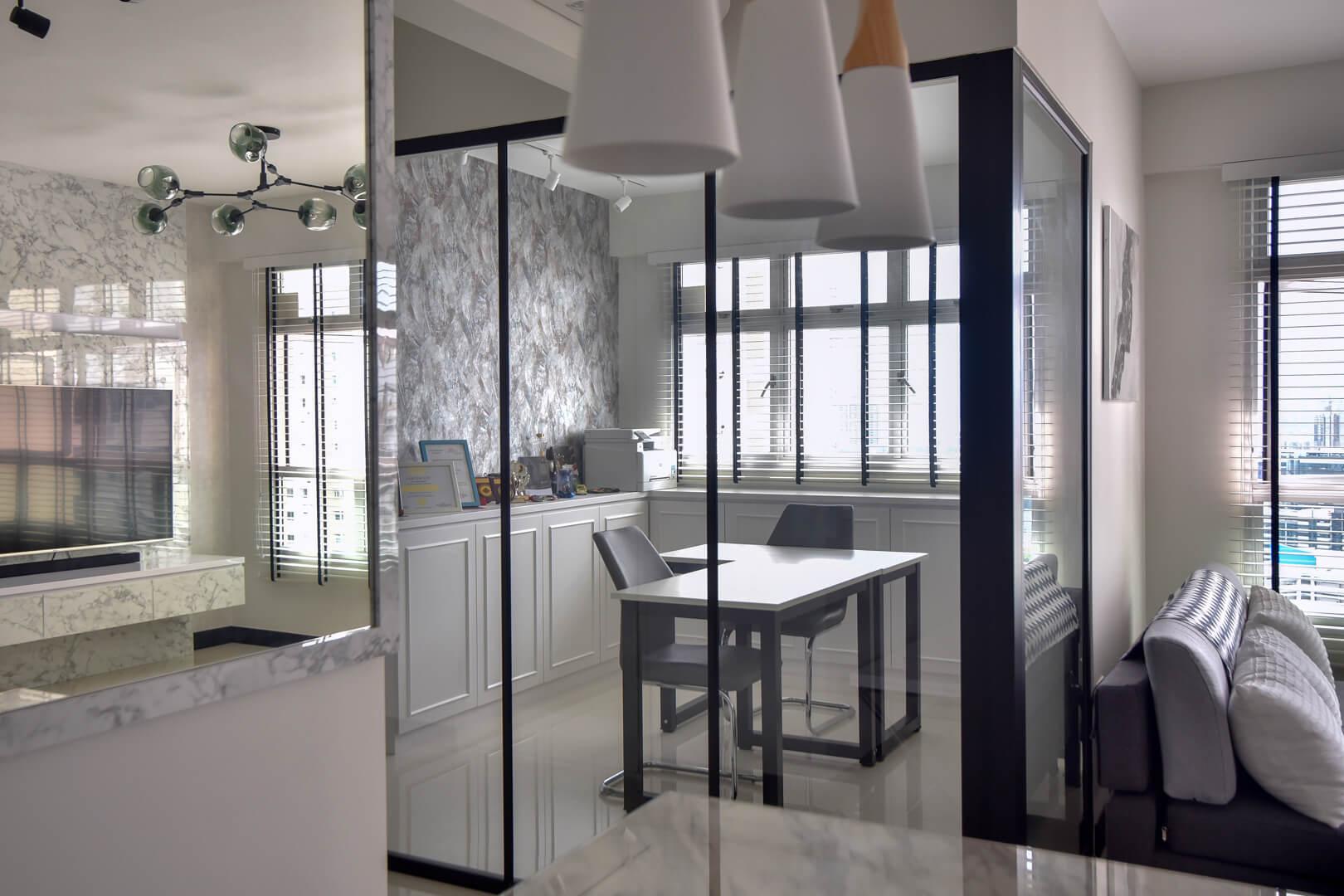 White Monochrome Interior Design Living Room Side Corner