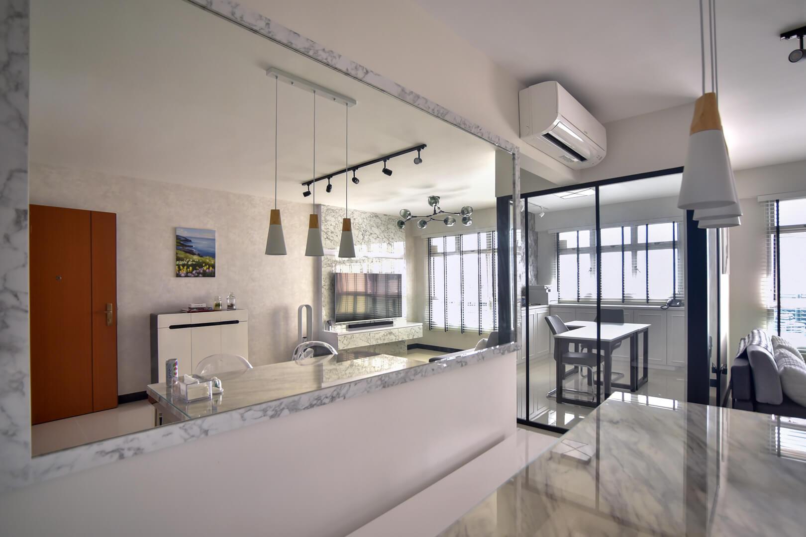 White Monochrome Interior Design Kitchen View