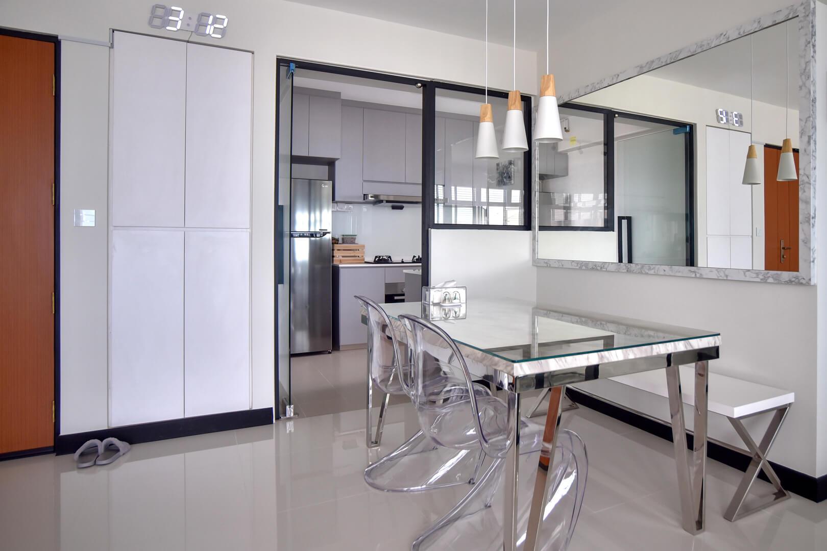 white-monochrome-interior-design-kitchen-dinning-area