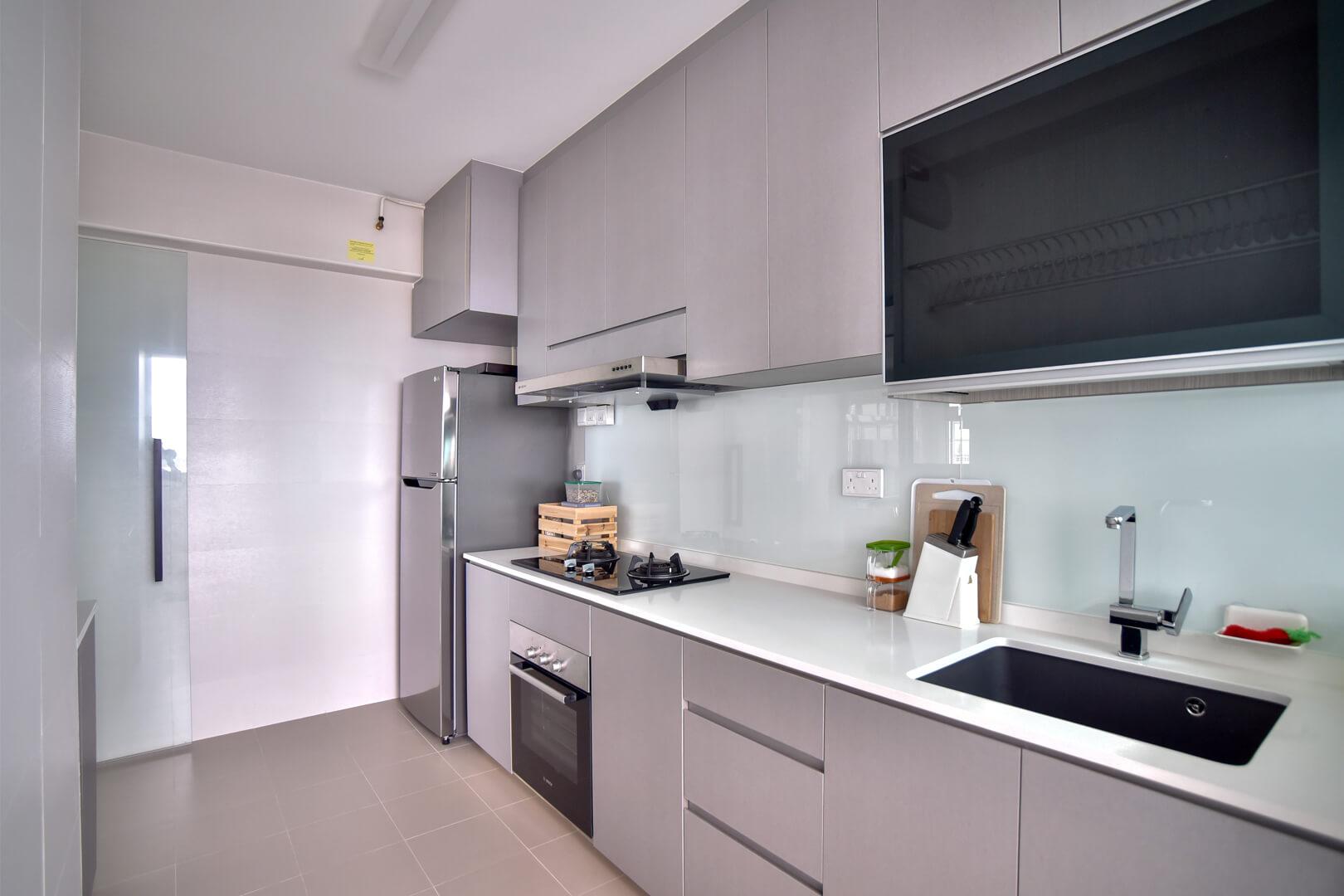 White Monochrome Interior Design kitchen Inside View