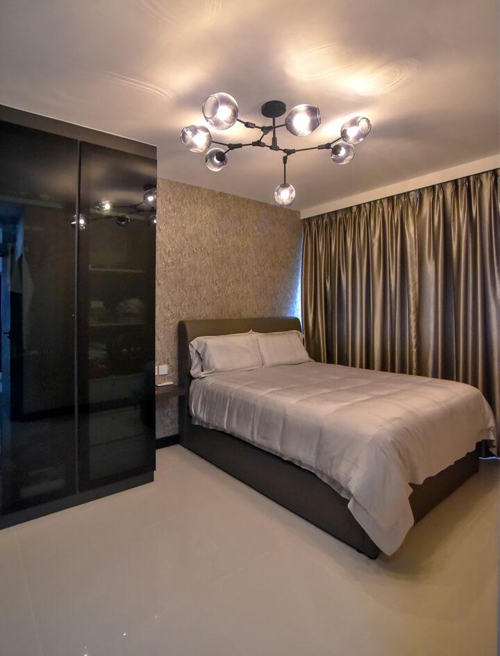 White Monochrome Interior Design Master Room Night View
